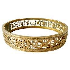 Fine Filigree Gold Filled Hinged Bangle Bracelet