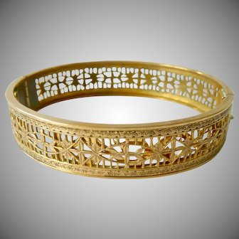 Fine Filigree Gold Filled Hinged Bangle Bracelet