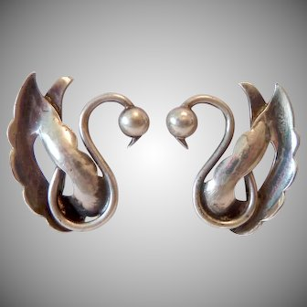 Sterling Silver 925 Swan Clip Earrings Nino Bisso Hand Wrought