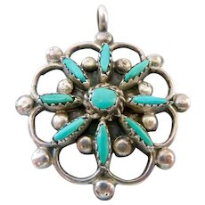 Sterling Silver 925 Turquoise Pendant Probably Zuni