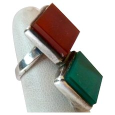 Sterling Silver 925 Carnelian and Green Onyx Ring