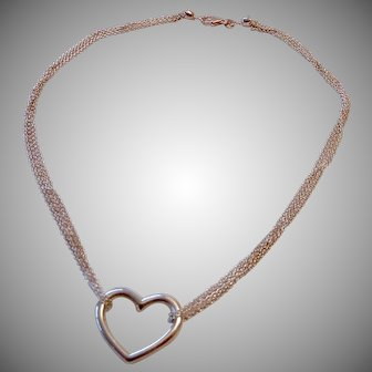 Sterling Silver 925 Four Strand Necklace with Open Heart Centerpiece