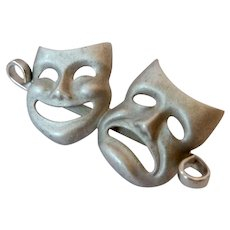Beau Sterling Silver 925 Comedy and Tragedy Mask Pin Brooch
