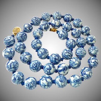 Chinese Hand Painted Porcelain 14mm Bead Necklace Hand Knotted Blue on White