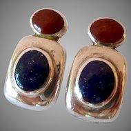 Silver 950 Lapis and Jasper Post Earrings