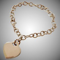 Sterling Silver 925 Link Bracelet with Heart Charm
