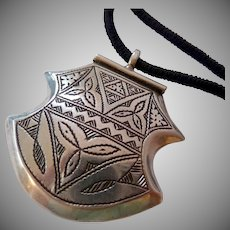 800 Silver Pendant with Hallmarks on Black Cord