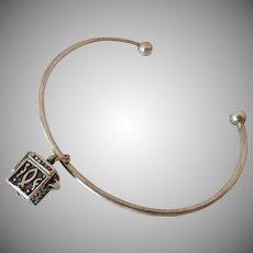 Sterling Silver 925 Cuff Bracelet with Prayer Box Charm