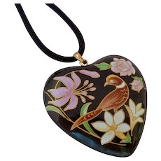 Large Painted Heart Pendant on Black Cord Bird Motif Double Sided Sterling Bail