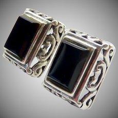 Sterling Silver 925 Onyx Post Earrings  Rectangular Scroll Design