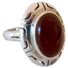 Sterling Silver 925 Carnelian Ring