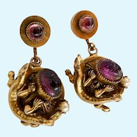 French Salamander Dangle Screw Back Earrings Amethyst Pastes