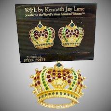 KJL Kenneth Jay Lane Bejewelled Crown Brooch and Pierced Earrings Set