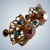 Vintage  3-D Multi-Color Rhinestone Earrings Made Austria