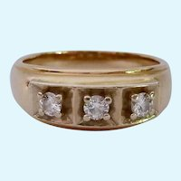 Substantial 14K Gold Three Diamond Men's Ring .25 Estimated TCW