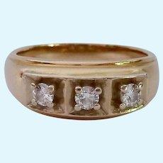 Substantial 14K Gold Three Diamond Men's Ring .25 Estimated TCW
