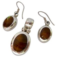Sterling Silver 925 Pendant and Earring Set with Inlay