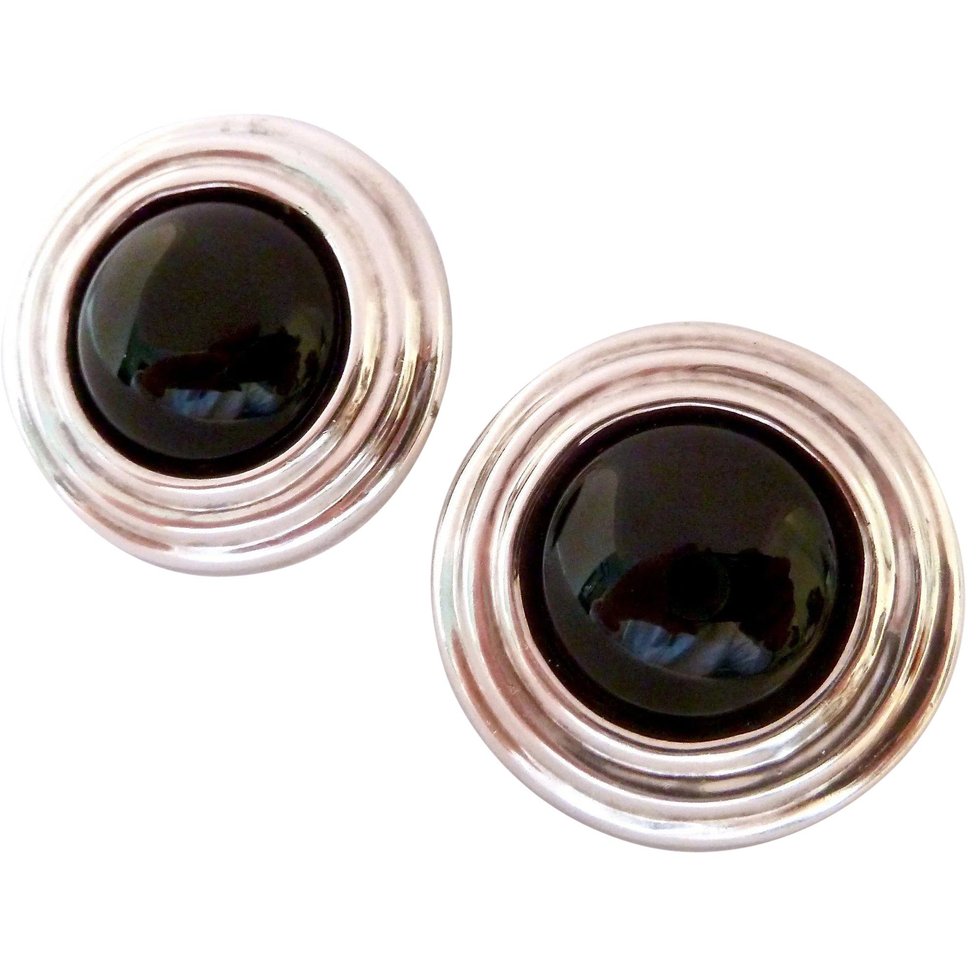 5f7a9263b Large Sterling Silver 925 Round Clip Earrings with Black Cabs : Susabella's    Ruby Lane