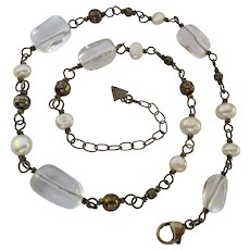 Silpada Sterling Silver 925 Rock Crystal and Cultured Pearl Necklace