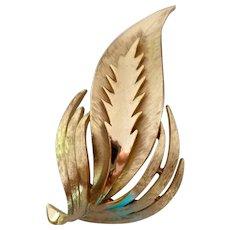 Crown Trifari Gold Tone Leaf Pin Brooch