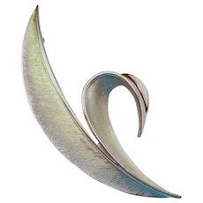Crown Trifari Silver Tone Leaf Pin Brooch