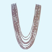 Elegant Coro Silver Tone Graduated Multi Strand Necklace