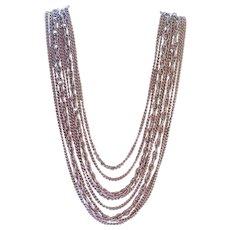 Elegant Coro Silver Tone Graduated Multi Strand Necklace