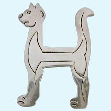 Sterling Silver 925 Cat Letter H Pin Brooch