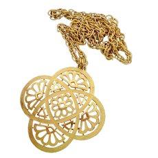 Crown Trifari Mod Gold Tone Medallion Necklace