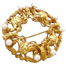 Miriam Haskell Russian Gold and Simulated Pearl Layered Brooch Pin