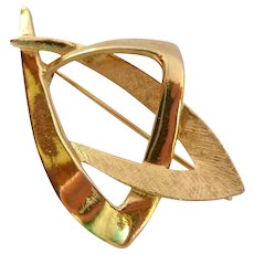 Coro Signed Abstract Gold Tone Pin Brooch