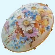 Vintage Hand Painted Porcelain Oval Pin Brooch