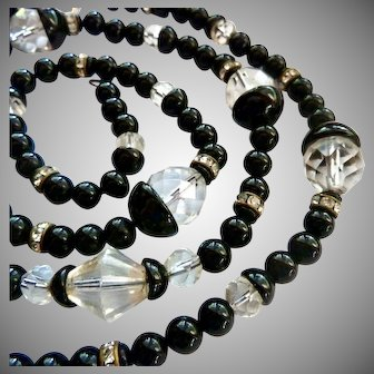 Black and Clear Glass Bead Necklace Interesting Caps