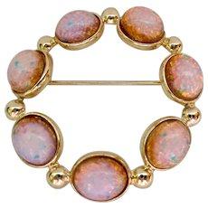 Simulated Opal Circle Pin Brooch Gold Tone