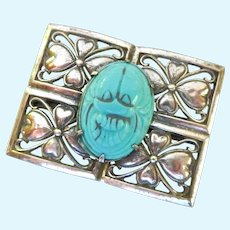 Silver Tone Turquoise Colored Scarab Brooch
