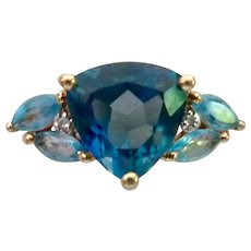 14K Gold Blue Topaz Diamond Ring Two Tone Blue