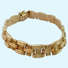 14K Gold Bracelet Puffed Basketweave Design 10.9 Grams