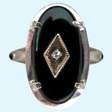 10K White Gold Onyx Diamond Ring Classic Style