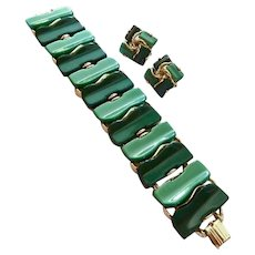 Green Thermoset Bracelet and Clip Earring Set Two Tone