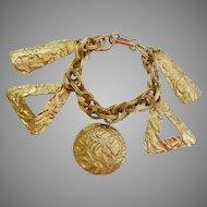 Chunky Gold Tone Dangle Multi-Link Bracelet