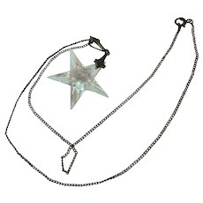 Vintage Rock Crystal Star Pendant with Sterling Setting and Chain Necklace Signed