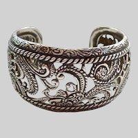 Heavy Wide Sterling Silver 925 Cuff Bracelet Relios Carolyn Pollack 63.2 Grams Impressive