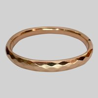 1/4 Gold Faceted Hinged Bangle Bracelet Signed C.E.H. Co Charles E Hancock Co