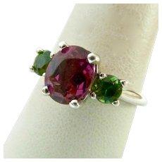 14K White Gold Pink and Green Tourmaline Ring