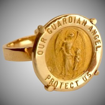14K Gold Guardian Angel Coin Style Ring