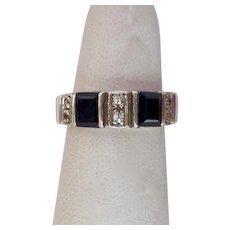 Sterling Silver 925 Black Gemstone Band Ring