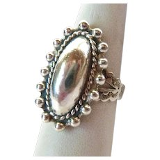 Sterling Silver 925 Oval Concho Ring Adjustable