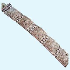 Theodor Fahrner Wide Sterling Silver 925 Marcasite Bracelet Intricate Design