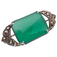 Sterling Silver Art Deco 925 Chrysoprase Marcasite Brooch Pin