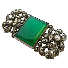 Sterling Silver 925 Chrysoprase Marcasite Pin Brooch